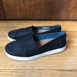 Toms Avalon Black Coated Canvas Slip-Ons